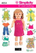 "4654 Simplicity Pattern: Doll Clothes for 45cm (18"") Dolls"